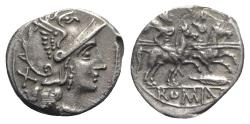 Ancient Coins - ROME REPUBLIC Staff and feather series, Uncertain mint, c. 206-200 BC. AR Denarius. RARE