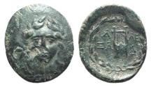 Ancient Coins - Troas, Alexandria, c. 164-135 BC. Æ 20mm. Had of Apollo; c/m: six-rayed star. R/ Lyre
