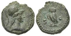 Ancient Coins - Anonymous, time of Domitian to Antoninus Pius, 81-161. Æ Quadrans. Rome. Bust of Minerva. R/ OWL