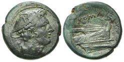 Ancient Coins - ROME REPUBLIC Anonymous, Rome, 217-215 BC. Æ Semuncia. Head of Mercury. R/ PROW of GALLEY