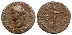 Ancient Coins - Nero (54-68). Æ As - Lugdunum - R/ Nero as Apollo Citharoedus