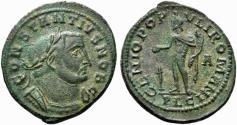 Ancient Coins - Constantius I (Caesar, 293-305). Æ Follis. Lugdunum, c. AD 301-3.  R/ GENIUS