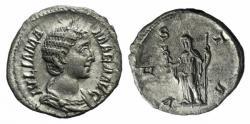 Ancient Coins - Julia Mamaea. Augusta, AD 222-235. AR Denarius. Rome mint. 6th emission, AD 226. R / VESTA
