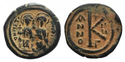 Ancient Coins - Justin II and Sophia (565-578). Æ 20 Nummi. Constantinople, year 2 (566/7). Justin and Sophia seated facing on double throne