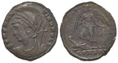 Ancient Coins - Commemorative Series, c. 330-354. Æ Follis. Constantinople, 333-5. Bust of Constantinople R/ Victory