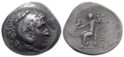 Ancient Coins - Pamphylia, Perge, c. 221/0-189/8 BC. AR Tetradrachm. In the name and types of Alexander III of Macedon, year 28 (c. 194/3 BC).  c/m: Anchor