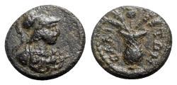 Ancient Coins - Aeolis, Elaea, c. 2nd century AD. Æ - Athena / Basket