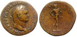 Ancient Coins - Titus (Caesar, 69-79). Æ Sestertius - Rome - R/ Mars