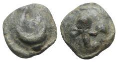 Ancient Coins - ITALY. Northern Apulia, Luceria, c. 217-212 BC. Cast Æ Semuncia. Crescent. R/ Filleted thyrsos.