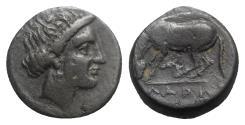 Ancient Coins - Thessaly, Larissa, c. 400-350 BC. Æ Dichalkon. Head of Nymph Larissa  R/ Horse crouching