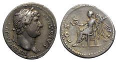 Ancient Coins - Hadrian (117-138). AR Denarius. Rome, c. 124-8. R/ Victory seated