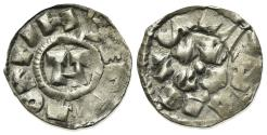 World Coins - Italy, Lucca. Enrico III, IV or V (1039-1125). AR Denaro. Monogram. R/ LVCA