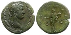 Ancient Coins - Hadrian (117-138). Æ Sestertius. Rome, 134-8. R/ Fortuna standing