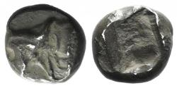 Ancient Coins - Ionia, Uncertain, c. 5th century BC. AR Tetartemorion. Head and neck of bull UNPUBLISHED