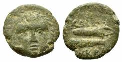 Ancient Coins - Islands of Caria, Kos, c. 210-180 BC. Æ 15mm. Head of Herakles  R/ Club and bow in case