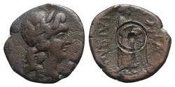 Ancient Coins - Sicily, Katane, c. 3rd-2nd century BC. Æ Hexas. R/ Aphrodite