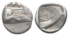 Ancient Coins - Lycia, Phaselis, c. 500-440 BC. AR Tetrobol. Prow of galley  R/ Stern of galley