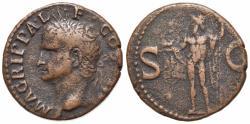 Ancient Coins - Agrippa (died 12 BC). Æ As. Rome, AD 37-41.  R/ NEPTUNE