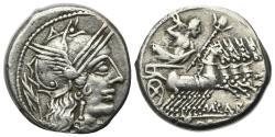 Ancient Coins - ROME REPUBLIC M. Papirius Carbo, Rome, 122 BC. AR Denarius