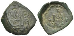 Ancient Coins - Justinian II, with Tiberius. Second reign, 705-711. Æ Follis (40 Nummi). Syracuse mint. Struck 710-711. Interesting overstruck. VERY RARE