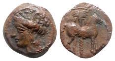 Ancient Coins - Carthage, c. 400-350 BC. Æ - Tanit / Horse