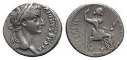 """Ancient Coins - Tiberius (14-37). AR Denarius. """"Tribute Penny"""" type, Lugdunum, 36-7. R/ Livia (as Pax)"""