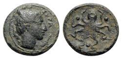 Ancient Coins - Sicily, Syracuse, c. 435-415 BC. Æ Tetras
