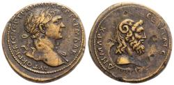 Ancient Coins - CYRENAICA, Cyrene. Trajan. AD 98-117. Æ 30mm. Struck AD 103-111. Head of Zeus-Ammon