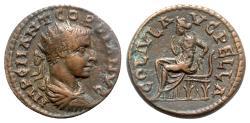 Ancient Coins - Gordian III (238-244). Macedon, Pella. Æ - R/ City-Goddess seated