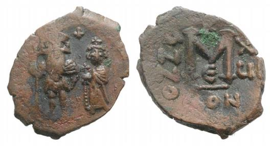 Ancient Coins - Constans II and Constantine IV (641-668). N 40 Nummi, year 16 (656/7). Constantinople