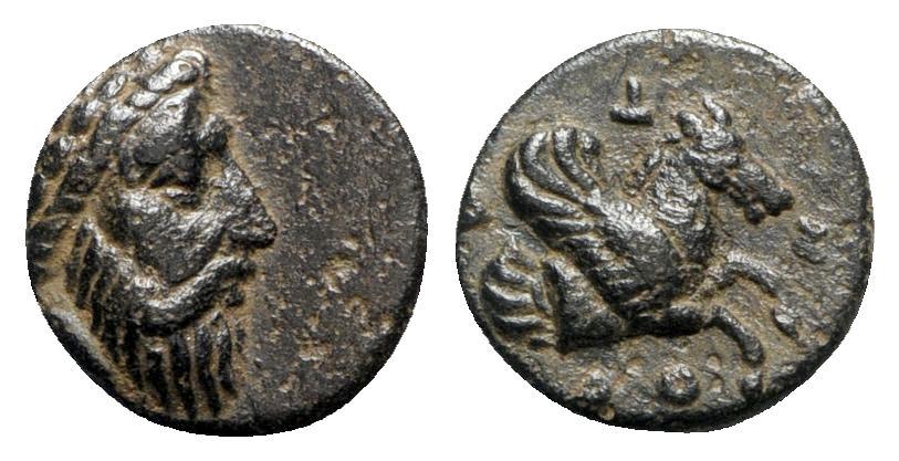 Ancient Coins - Mysia, Adramytion, 4th century BC. Æ - Zeus / Forepart of Pegasos