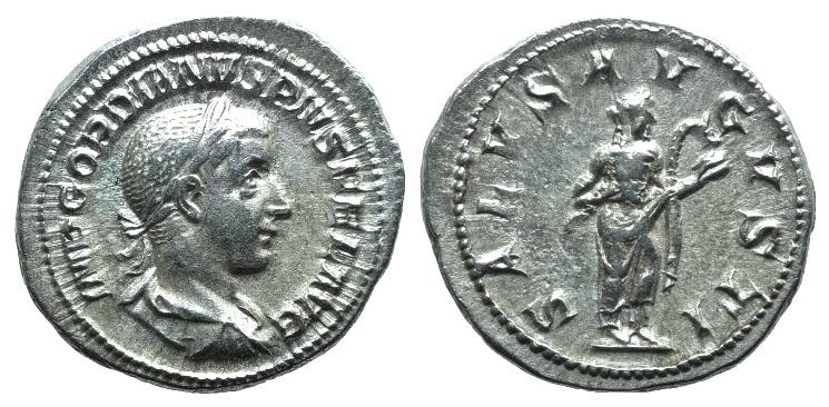Ancient Coins - Gordian III (238-244). AR Denarius. Rome, 240. R/ SALUS