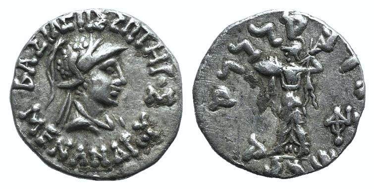 Ancient Coins - Baktria, Indo-Greek Kingdom. Menander I (c. 155-130 BC). AR Drachm