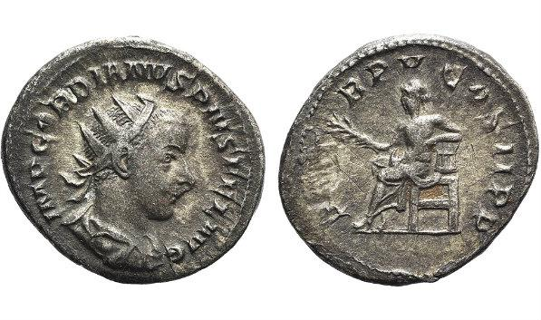 Ancient Coins - Gordian III (238-244). AR Antoninianus. Rome, 242. R/ Apollo seated l.