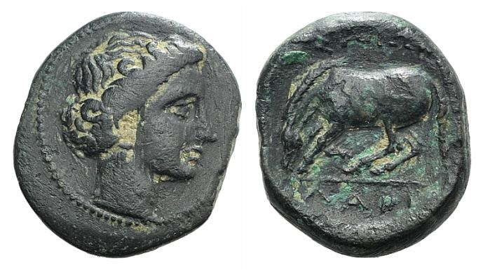 Ancient Coins - Thessaly, Larissa, c. 400-350 BC. Æ Dichalkon. Head of Nymph Larissa r. R/ Horse