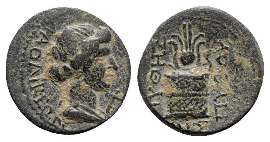 Ancient Coins - Phrygia, Laodikeia, c. 1st century BC. Æ - Apollo / Altar with serpent