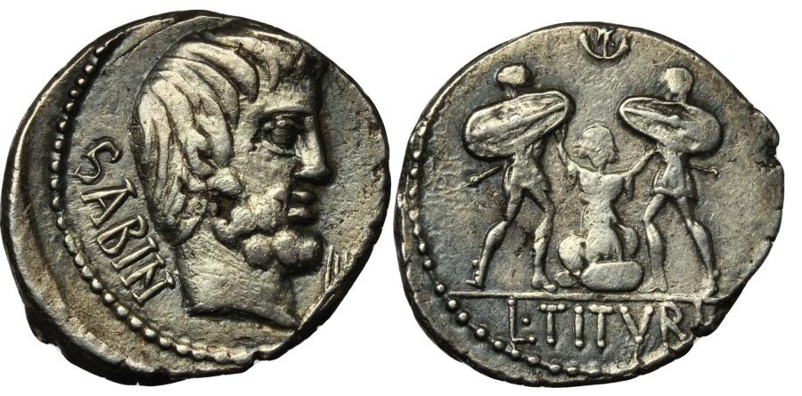 Ancient Coins - ROME REPUBLIC  L. Titurius L.f. Sabinus. 89 BC. AR Denarius