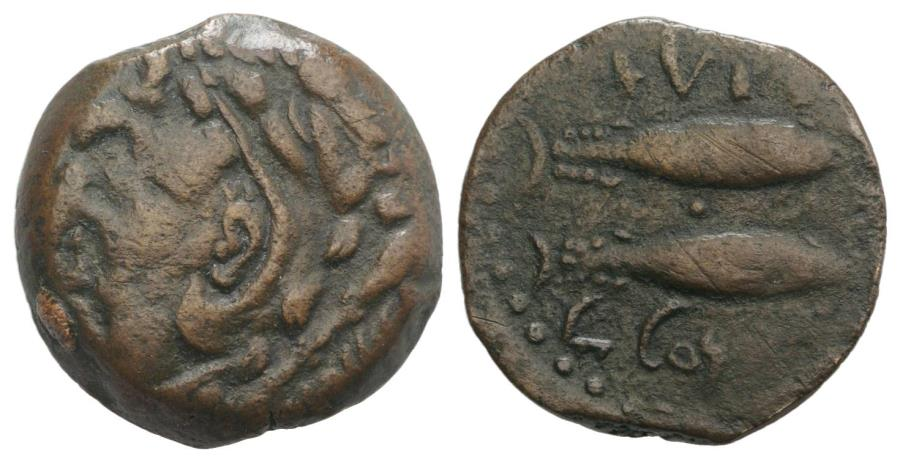 Ancient Coins - Spain, Gadir (Gades), 2nd century BC. Æ Unit. R/ Two tunny fish