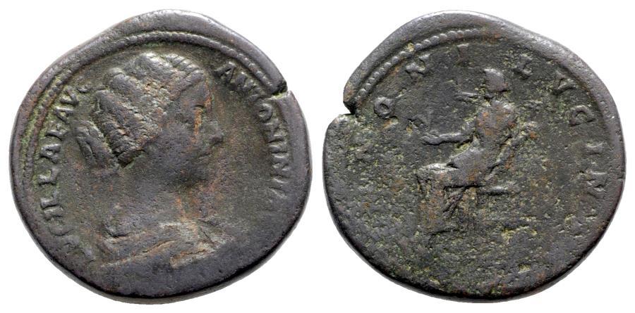 Ancient Coins - Lucilla (Augusta, 164-182). Æ Sestertius - R/ Juno
