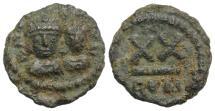 Ancient Coins - Heraclius, with Heraclius Constantine. 610-641. Æ Half Follis – 20 Nummi. Rome mint. Struck 613-620.