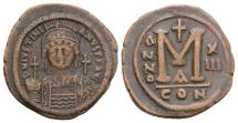 Ancient Coins - JUSTINIAN I. 527-565 AD. Æ Follis. Constantinople mint. Dated year 13 (539/40 AD).