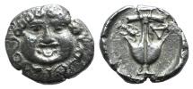 Ancient Coins - THRACE, Apollonia Pontika. Late 5th-4th centuries BC. AR Drachm. Facing head of Medusa