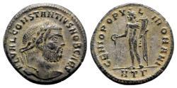 Ancient Coins - Constantius I (Caesar, 293-305). Æ Follis - Heraclea - R/ Genius