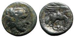 Ancient Coins - Bruttium, Kroton, c. 350-300 BC. Æ - Herakles / Eagle