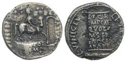 Ancient Coins - Augustus (27 BC-14 AD). AR Denarius. L. Vinicius, moneyer, 16 BC. Equestrian statue of Augustus R/ CIPPUS