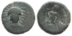 Ancient Coins - Sicily, Leontini, after c. 210 BC. Æ - Demeter / River-god seated