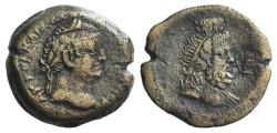 Ancient Coins - Vespasian (69-79). Egypt, Alexandria. Æ Diobol, year 5 (72/3). R/ Draped bust of Serapis