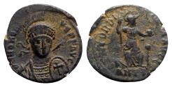 Ancient Coins - Honorius (393-423). Æ - Antioch - R/ Roma seated