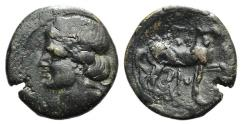Ancient Coins - Carthage, c. 215-201 BC. Æ Shekel Head of Tanit  R/ Horse