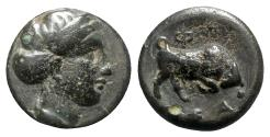 Ancient Coins - Ionia, Phygela, c. 350-300 BC. Æ - Artemis / Bull